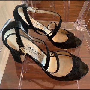 Jimmy Choo Carrie peep toe in black.